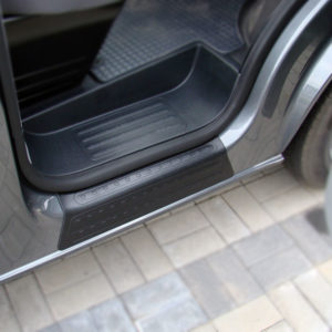 VW TRANSPORTER T6 2016 ONWARDS DOOR ENTRY SILL COVERS IN BLACK – 2PC SET