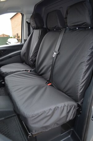 Mercedes Vito Front Driver and Double Passenger Seat Covers - Black
