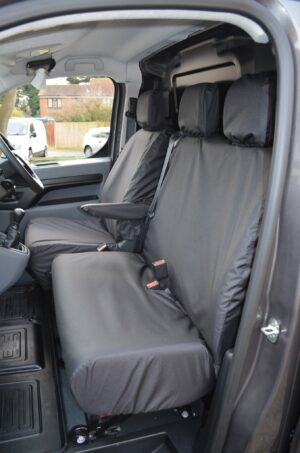 PEUGEOT EXPERT 2016+ NO WORKTRAY SEAT COVERS - BLACK