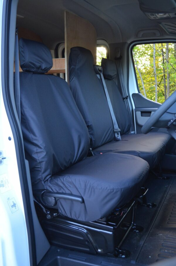 Renault Master 2010 driver and folding bench seat covers - black
