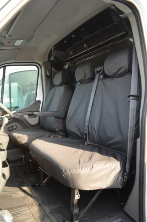Renault Master Van 2010 on Driver's Seat Fixed Double Passenger Seat Covers - Black