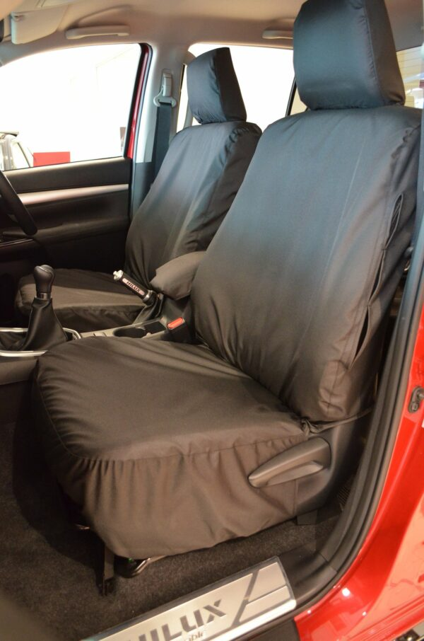 TOYOTA HILUX MK8 INVINCIBLE FRONT SEAT COVERS IN BLACK