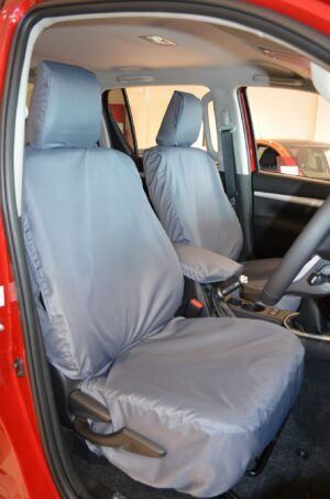TOYOTA HILUX MK8 INVINCIBLE FRONT SEAT COVERS IN GREY