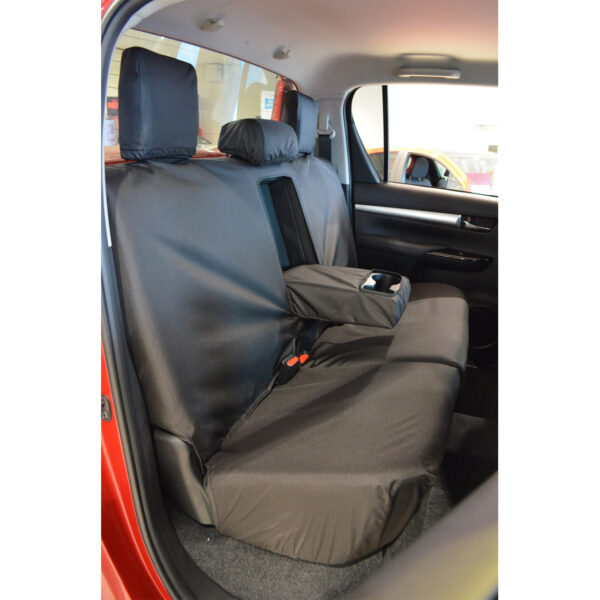 TOYOTA HILUX MK8 DOUBLE CAB REAR SEAT COVERS IN BLACK