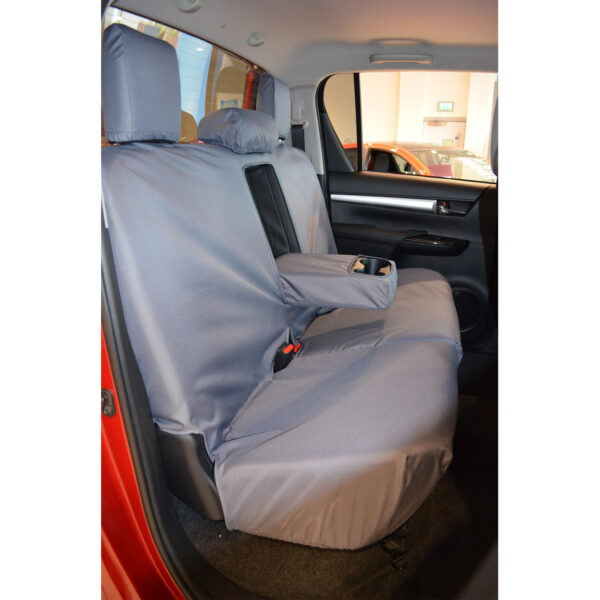 TOYOTA HILUX MK8 DOUBLE CAB REAR SEAT COVERS IN GREY