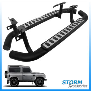 LAND ROVER DEFENDER 90 OEM STYLE RUNNING BOARDS - SIDE STEPS - PAIR - SILVER