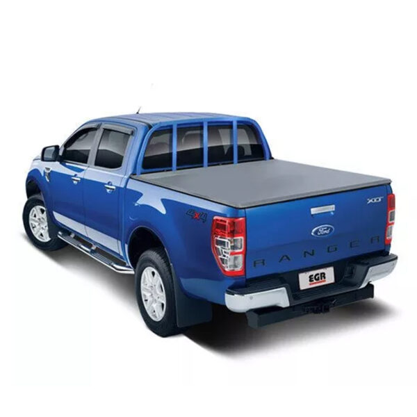 FORD RANGER T6 2012 ON DOUBLE CAB EGR SOFT ROLL-UP TONNEAU COVER - BLACK - TO FIT WITH LADDER RACK